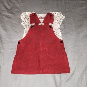Red Corduroy Overall Dress with Shirt Size 12 mo